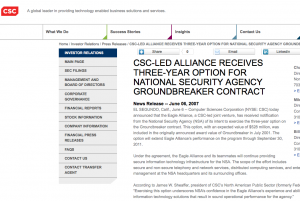 CSC pressemeddelse om NSA kontrakt.